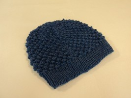 Handcrafted Slouchy Hat Ocean Blue Textured 100% Merino Wool Female Adult - $34.97