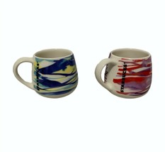 Set of Two Starbucks Watercolor Striped Espresso Mugs 3 oz Blue Yellow R... - $39.57