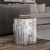 NEW BRIGHT METALLIC SILVER LOG STYLE END ACCENT DISPLAY TABLE MODERN LODGE - $257.40