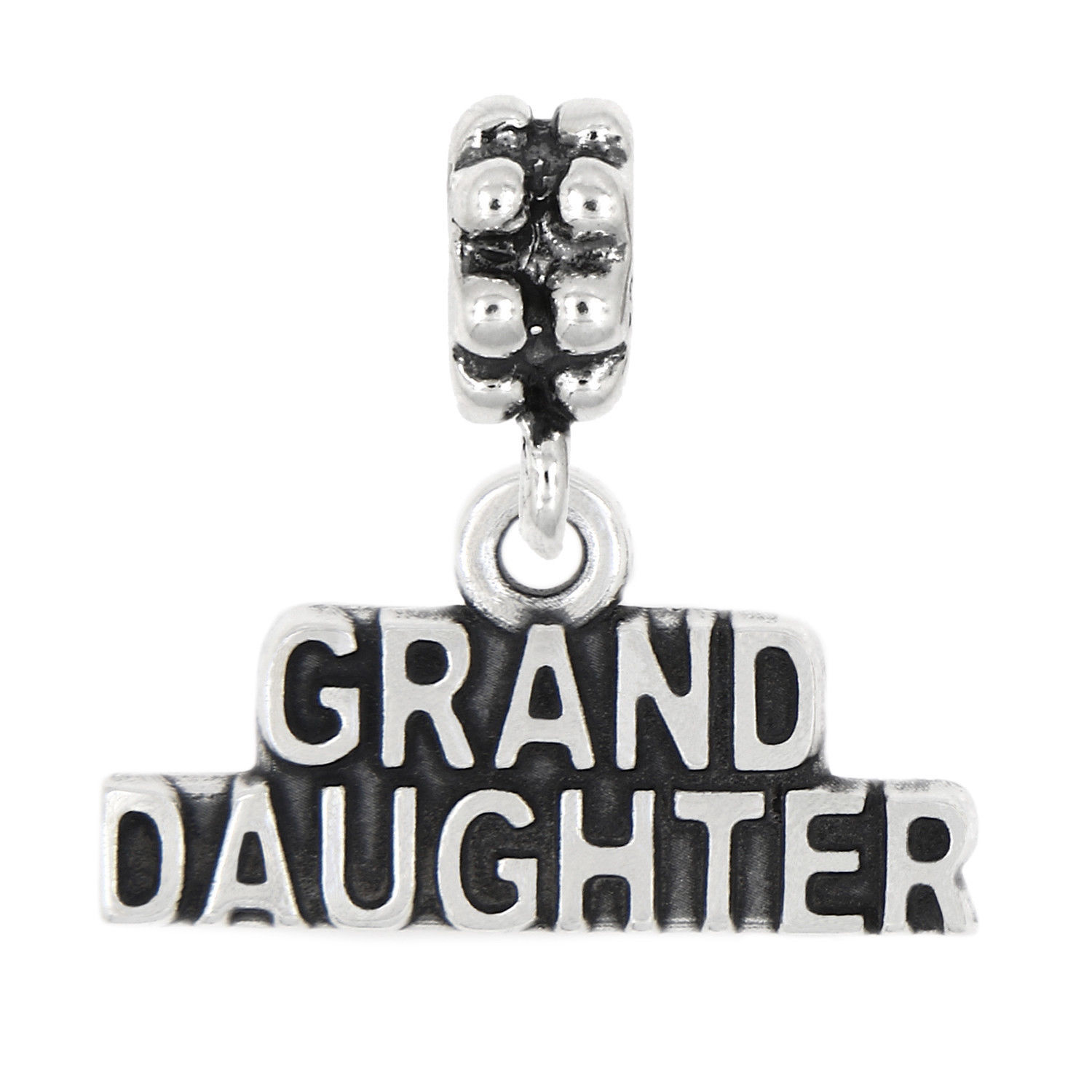 Sterling Silver Oxidized Granddaughter Charm (Options)