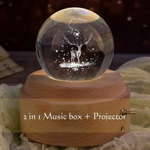 Music Box Crystal Ball Wooden Luminous Projector Rotary Hand Crank Gift  - $55.99