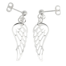 Sterling Silver Angel Wing Dangle Earrings - $28.05