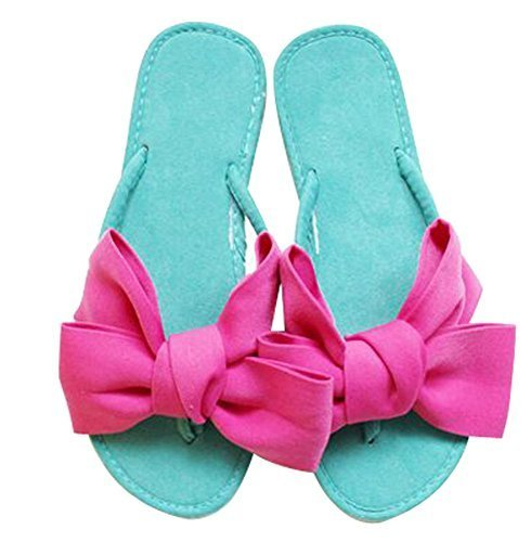 Fashion Summer Item, Pink Big Bowknot Flip Flop Beach Casual Sandals