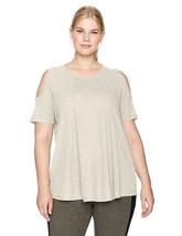Calvin Klein Womens Short Sleeve Cold Shoulder Top Bone Heather - $59.00