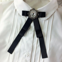 Vintage Style Crystal Rhinestone Tied Black Bow Brooch Pin - $7.12+