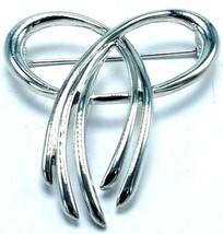 Vintage Crown Trifari Silver Draped Looped Bow Scarf Shaped Pin Brooch - $14.95