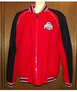 OHIO STATE UNIVERSITY Varsity Jacket Sz L Zip Up Wool Blend OSU Lined Li... - $46.48