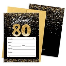 80th Birthday Party Invitation Cards with Envelopes, 25 Count (Black and... - $24.07