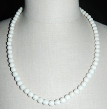 VTG Gold Tone White Milk Glass Faceted Bead Beaded Long Necklace - $29.70