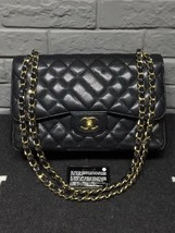 AUTHENTIC CHANEL BLACK CAVIAR QUILTED JUMBO DOUBLE FLAP BAG GOLD HARDWARE