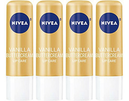 Lot of 4 Nivea Vanilla Buttercream Lip Care Lip Balms 0.17 Ounces - $11.64