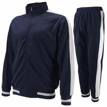 vkwear Men's Striped Athletic Running Jogging Gym Slim Fit Sweat Track Suit Set image 9