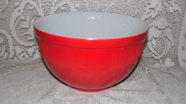 VINTAGE HALL USA #269 LARGE RED ART DECO DESIGN SERVING MIXING BOWL RIBB... - $54.40