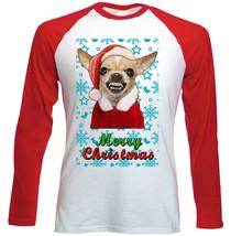 Chihuahua Colored Santa snow  - Red LONG SLEEVES COTTON TSHIRT - $19.53