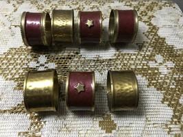 Vintage Hammered Brass Enameled Brass Napkin Rings Bohemian India  - $14.00