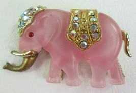 "Vintage Elephant Pin Brooch Pink Gold W/ Rhinestones Costume Jewelry 2"" - $26.18"