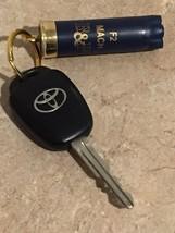 Dark Blue Shotgun Shell Keychain 12 Gauge, Once Fired Upcycled. 12GA Hull. - $5.00