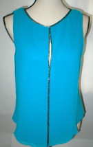 Womens NWT New S Dark Aqua Blue Beaded Top Blouse Sanctuary Anthropologi... - $43.60