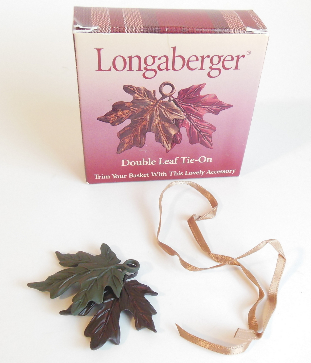 Longaberger Double Leaf Tie On Decorative Accessory Basket Autumn Fall Motif