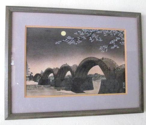 "1950 Original Woodcut Painting ""Kintai Bashi Bridge"" By Tokuriki Tomikichiro Sig"