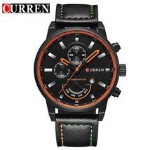 Men's Fashion Casual Sport  Watch Mens    Leather  Wristwatch Male Clock CURREN  - $39.62