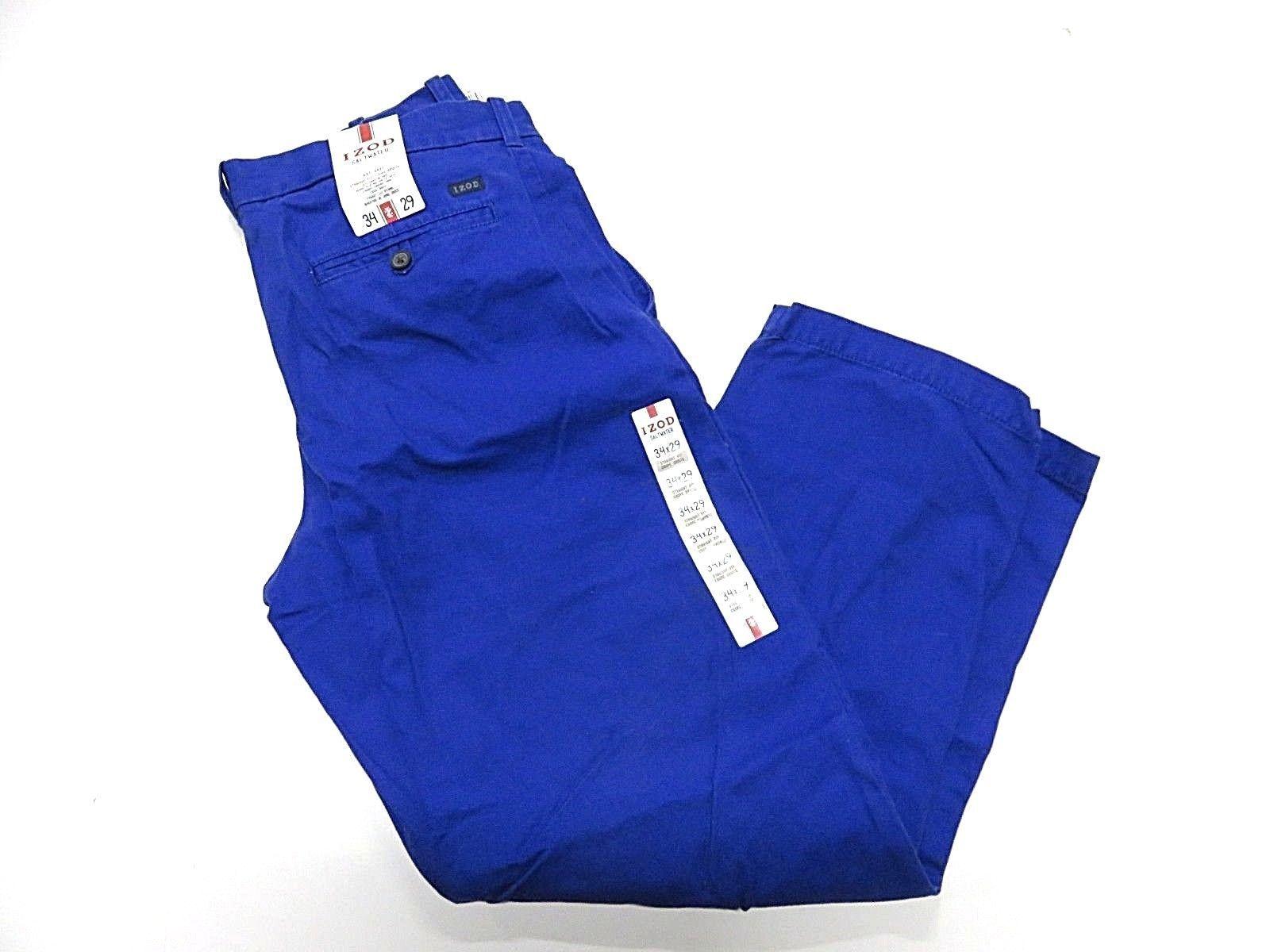NOS w/ TAGS IZOD Saltwater Mazarine Blue Men's Straight Fit Pants Size W34 L29
