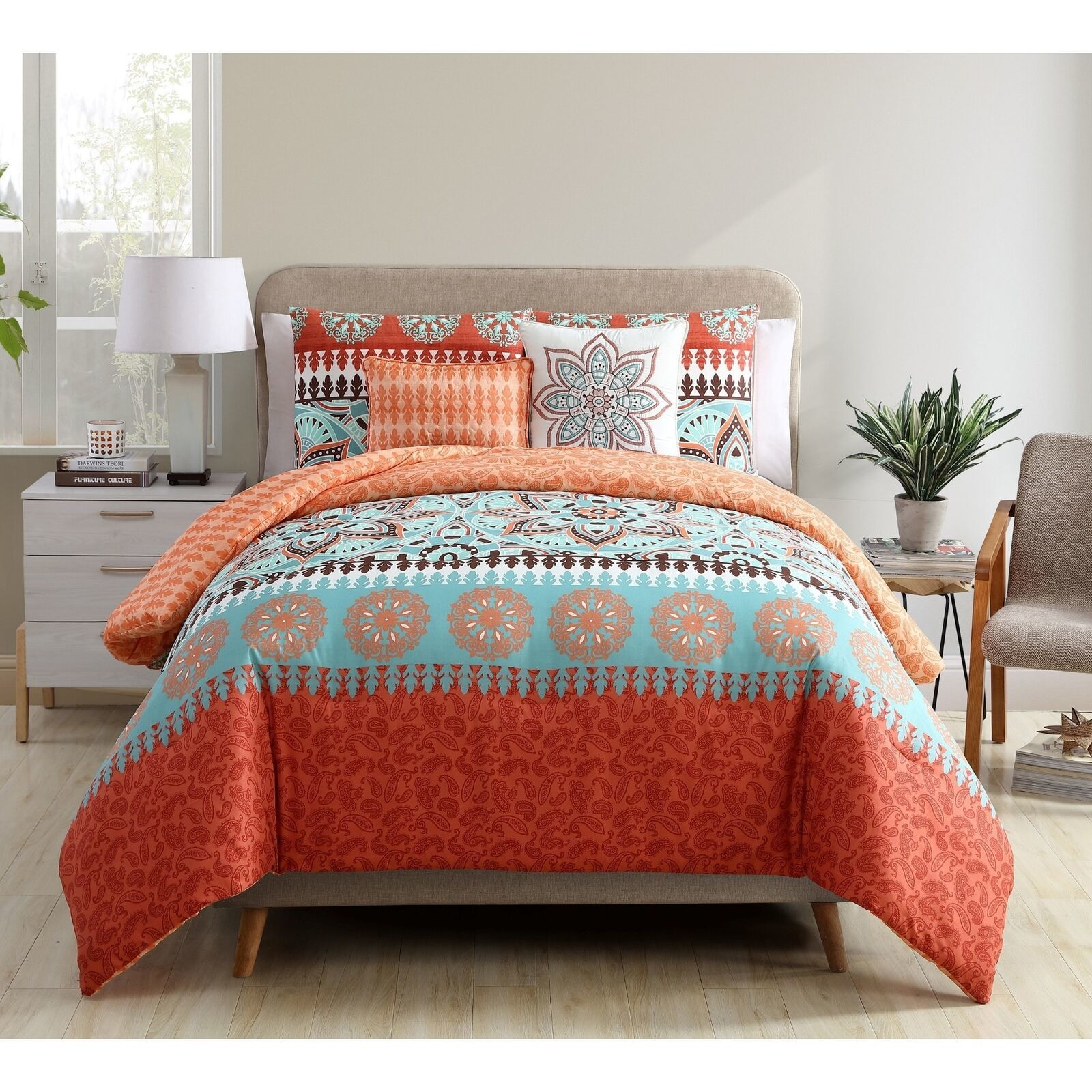 Twin Xl Full Queen King Bed Orange Blue Paisley Boho