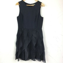Halston Heritage Dress Size 10 Navy Blue Silk and Organza Cocktail Wedding - $112.20