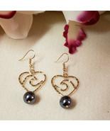 Ocean Wave Heart Pearl earrings - Filigree earrings - Pearl earrings - G... - $20.00