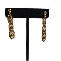 Vintage GOLDTONE CLIP ON EARRINGS Dangle Chain Link Earrings J6853 - $7.59