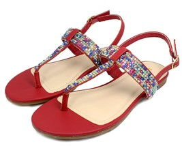 JOSALYN-22 Fushion Bead Flat T-Strap Cute Sandals Party Women Shoes Red 6 - $12.46