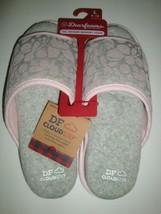 New Dearfoams Women's Memory Foams House Slide Slippers Gray/Pink Large 9-10 - $25.73
