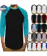 Mens T Shirt Baseball 3/4 Sleeve Crew Neck Sports Outdoor Hipster Jersey... - $9.49+