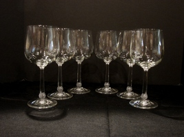 Saxony Crystal Set of 6 Wine Glasses Daniela Pattern Germany - $9.99