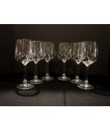 Saxony Crystal Set of 6 Wine Glasses Daniela Pattern Germany - $9.99