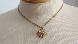 """16"""" Vintage Rose Flower Enameled Gold Pendant Necklace, Pink, Fold Over Clasp - $6.39"""