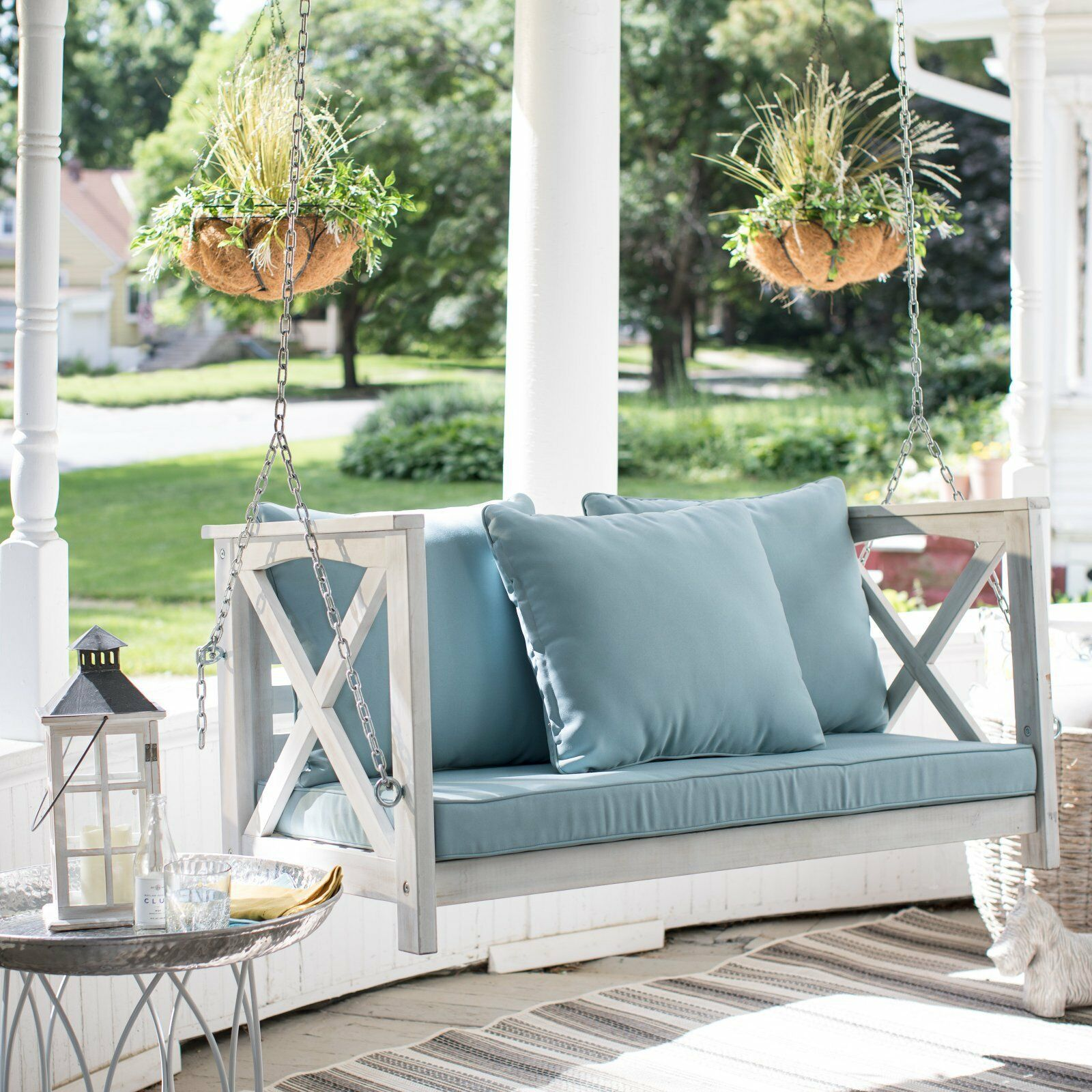 Country Farmhouse Shabby Chic White Wood Porch Swing Cushioned Outdoor Patio  image 2