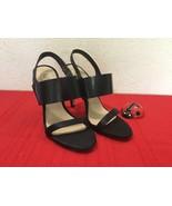 BCBG Max Azria High Heeled Stiletto Sandal Leather and Satin Black Sz 8 ... - $50.00