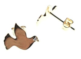 Kevia 18K Gold Plated Cubic Zirconia Brushed Metal Dove Post Stud Earrings NWT image 2