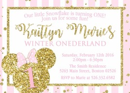 Minnie Mouse Winter Onederland Invitation Custom Pink Gold Glitter Perso... - $12.00