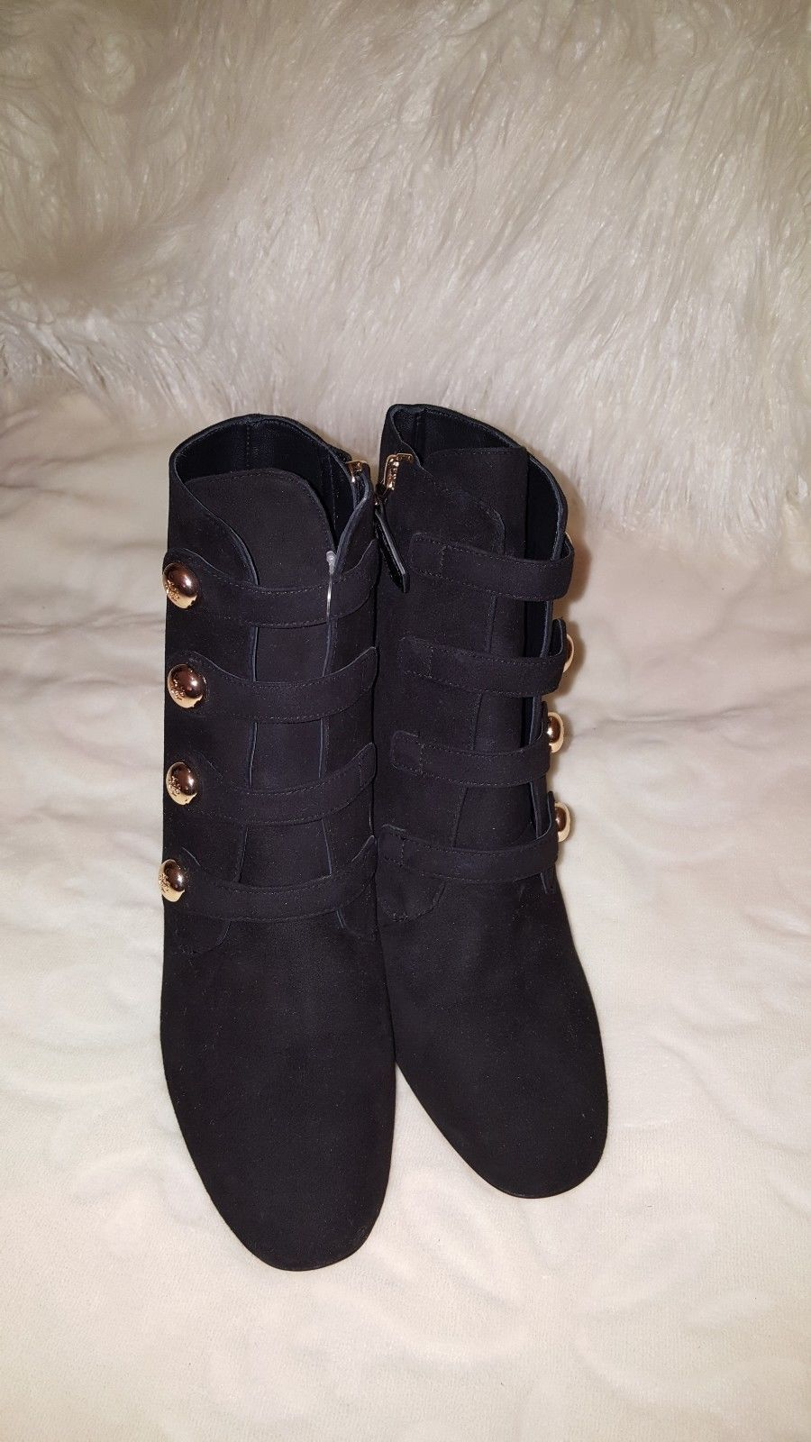 0641c900a19 Tory Burch Black Fine Suede Gold Buttons Ankle Heel Boots Size 8