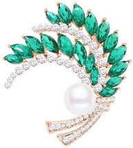 Gyn and Joy Circles Wedding Bouquet Wheat Brooch Pin In Crystal Rhinest... - $40.42