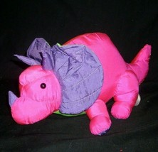 "12"" VINTAGE 1989 FIESTA PURPLE PINK DINO DINOSAUR NYLON STUFFED ANIMAL P... - $42.08"