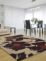 Rugsotic Carpets Hand Tufted Wool 8'x10' Area Rug Floral Cream Brown K00506 - $305.00