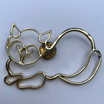 Vintage Open Work Cat Tack Pin Brooch Resting Kitten Kitty Gold Tone - $14.80
