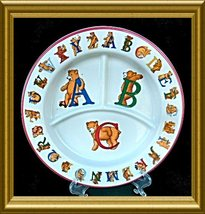 Tiffany Pottery Divided Childs Plate Alphabet Bears - $12.00