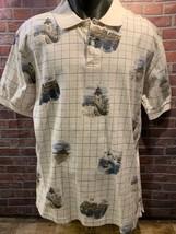 CHAPS Ralph Lauren Beach Bay Boating Lighthouse Polo Shirt Size L - $39.59
