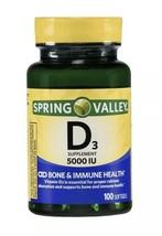 Vitamin D3 Softgels, 5000IU, 100ct Immune System & Health. Spring Valley. - $9.99