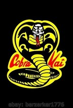 Cobra Kai Karate Kid 1980's 3'x5' vert Black Flag Banner Ralph Machio US... - $25.00