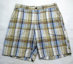 TOMMY HILFIGER Mens Beige Plaid Casual Shorts (Size 34) Flat Front, 100%... - $9.95